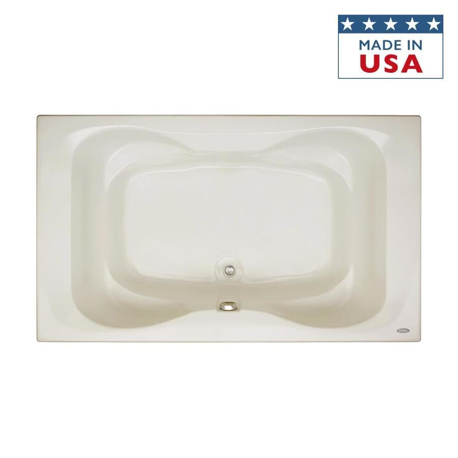 Jacuzzi Mito Oyster Acrylic Hourglass in Rectangle Drop-In Bathtub with Center Drain (Common: 42-in x 72-in; Actual: 21.5-in x 42-in x 72-in)