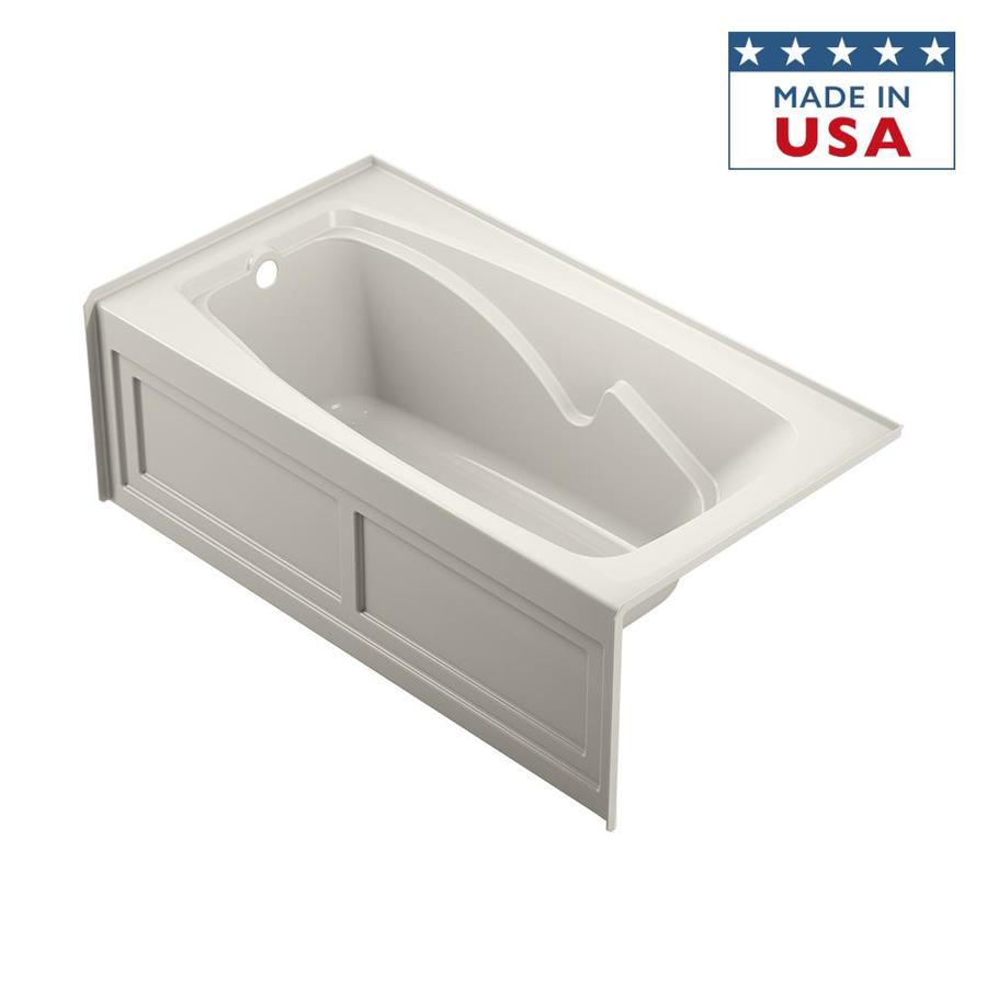 Jacuzzi Cetra 60-in Oyster Acrylic Bathtub with Left-Hand Drain