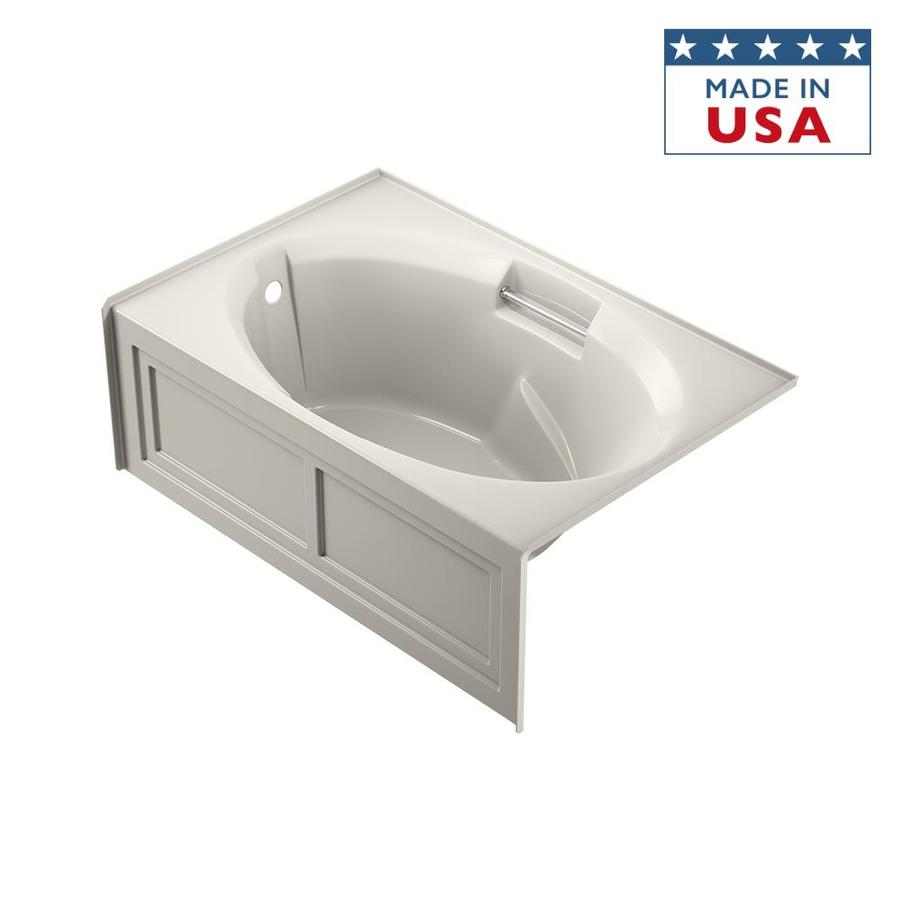Jacuzzi Nova Oyster Acrylic Oval In Rectangle Skirted Bathtub with Left-Hand Drain (Common: 36-in x 60-in; Actual: 19.25-in x 36-in x 60-in)
