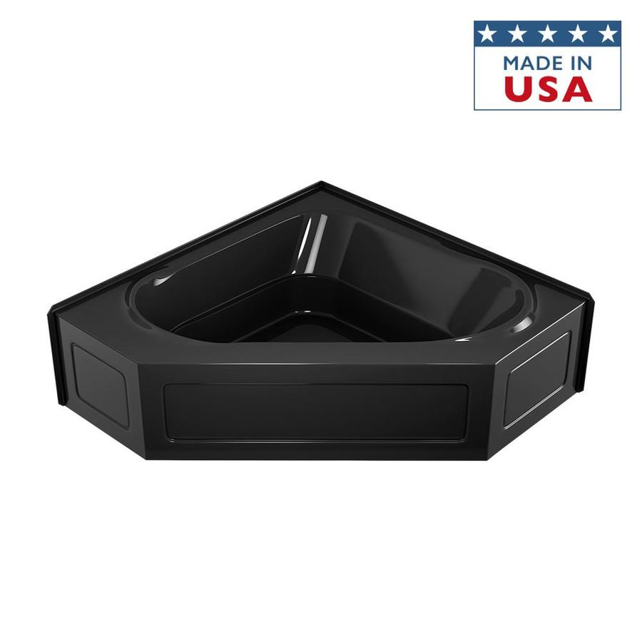 Jacuzzi Capella Black Acrylic Corner Skirted Bathtub with Center Drain (Common: 60-in x 60-in; Actual: 20.5-in x 60-in x 60-in)