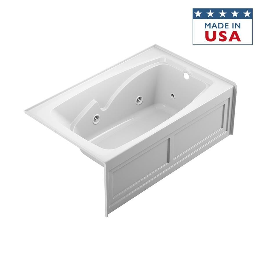 Jacuzzi Capella Oyster Acrylic Corner Skirted Bathtub with Center Drain (Common: 55-in x 55-in; Actual: 20.5-in x 55-in x 55-in)