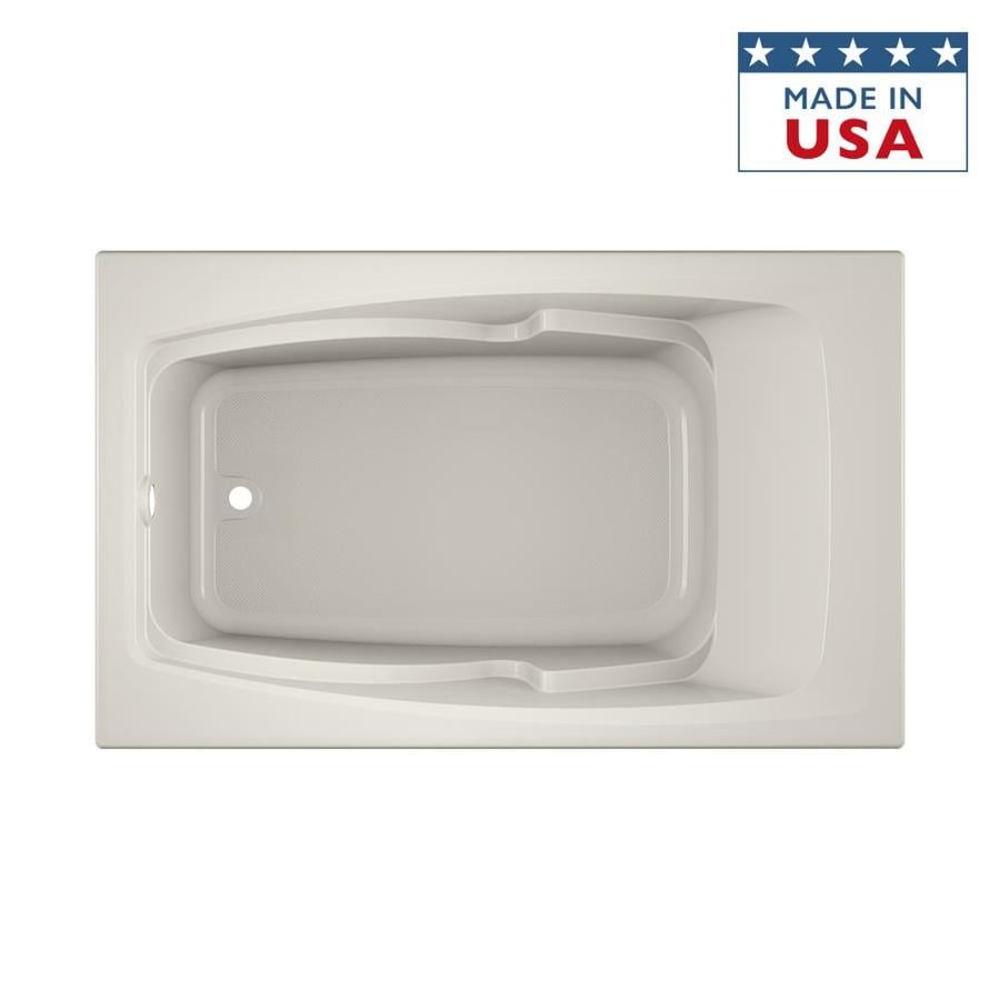 Jacuzzi Cetra 60-in Oyster Acrylic Bathtub with Reversible Drain