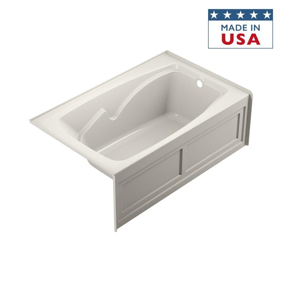 Jacuzzi Cetra Oyster Acrylic Rectangular Skirted Bathtub with Right-Hand Drain (Common: 36-in x 60-in; Actual: 21.25-in x 36-in x 60-in)
