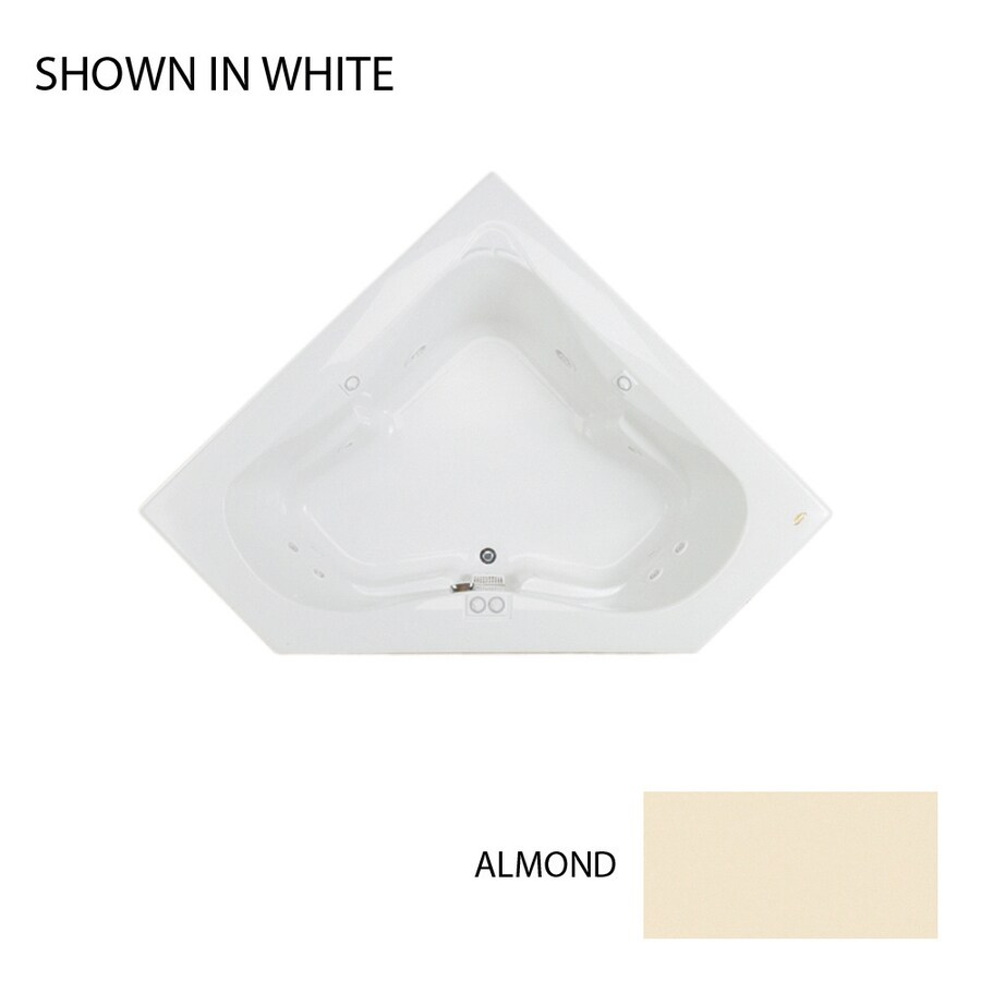 Jacuzzi Espree 2-Person Almond Acrylic Corner Whirlpool Tub (Common: 60-in x 60-in; Actual: 22-in x 60-in x 60-in)