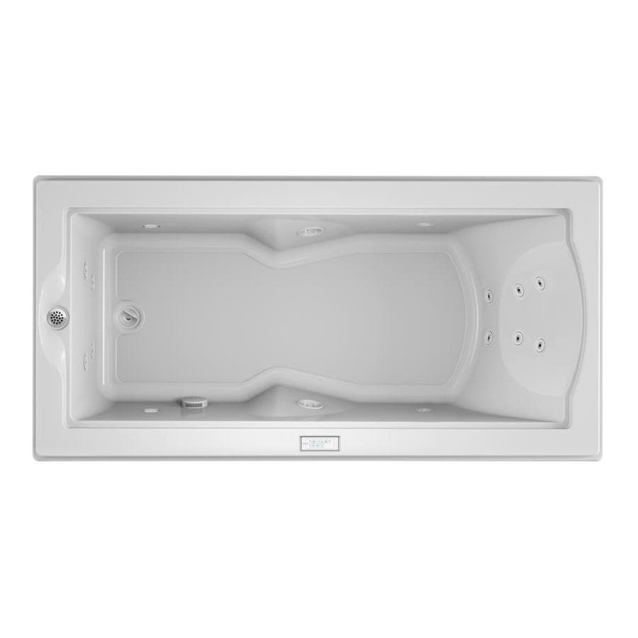 Jacuzzi Fuzion 70.7-in White Acrylic Drop-In Whirlpool Tub with Left-Hand Drain