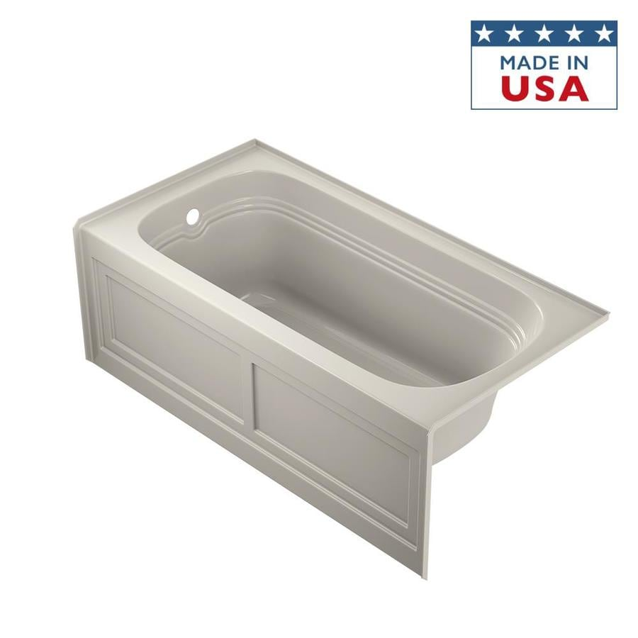 Jacuzzi Luxura 60-in Oyster Acrylic Alcove Bathtub with Left-Hand Drain