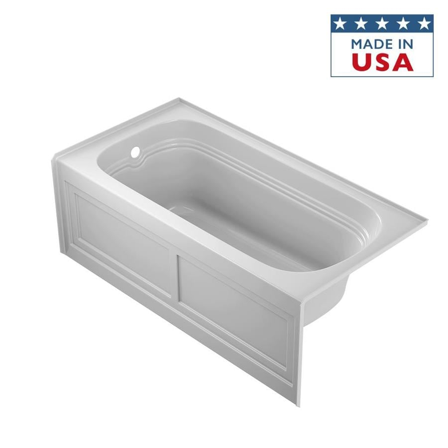 jacuzzi luxura white acrylic rectangular skirted bathtub with righthand drain common