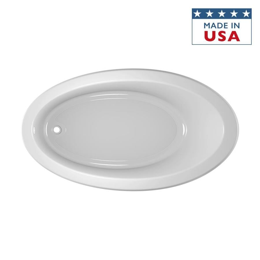 Jacuzzi Riva Acrylic Oval Drop-in Bathtub with Reversible Drain (Common: 38-in x 66-in; Actual: 19.5-in x 38.25-in x 66.25-in)