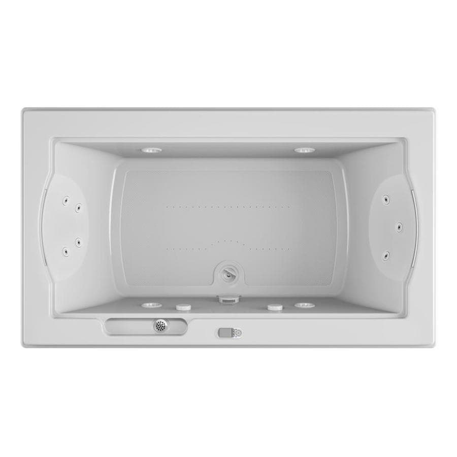 Jacuzzi Fuzion 72-in White Acrylic Drop-In Whirlpool Tub and Air Bath with Front Center Drain