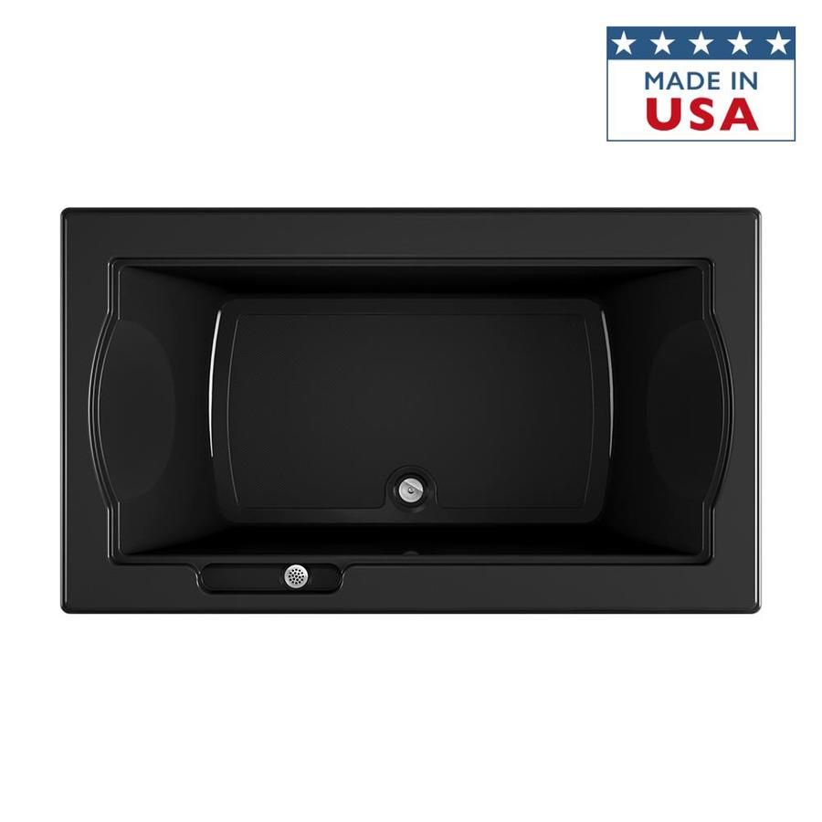 Jacuzzi Fuzion 72-in Black Acrylic Drop-In Bathtub with Center Drain