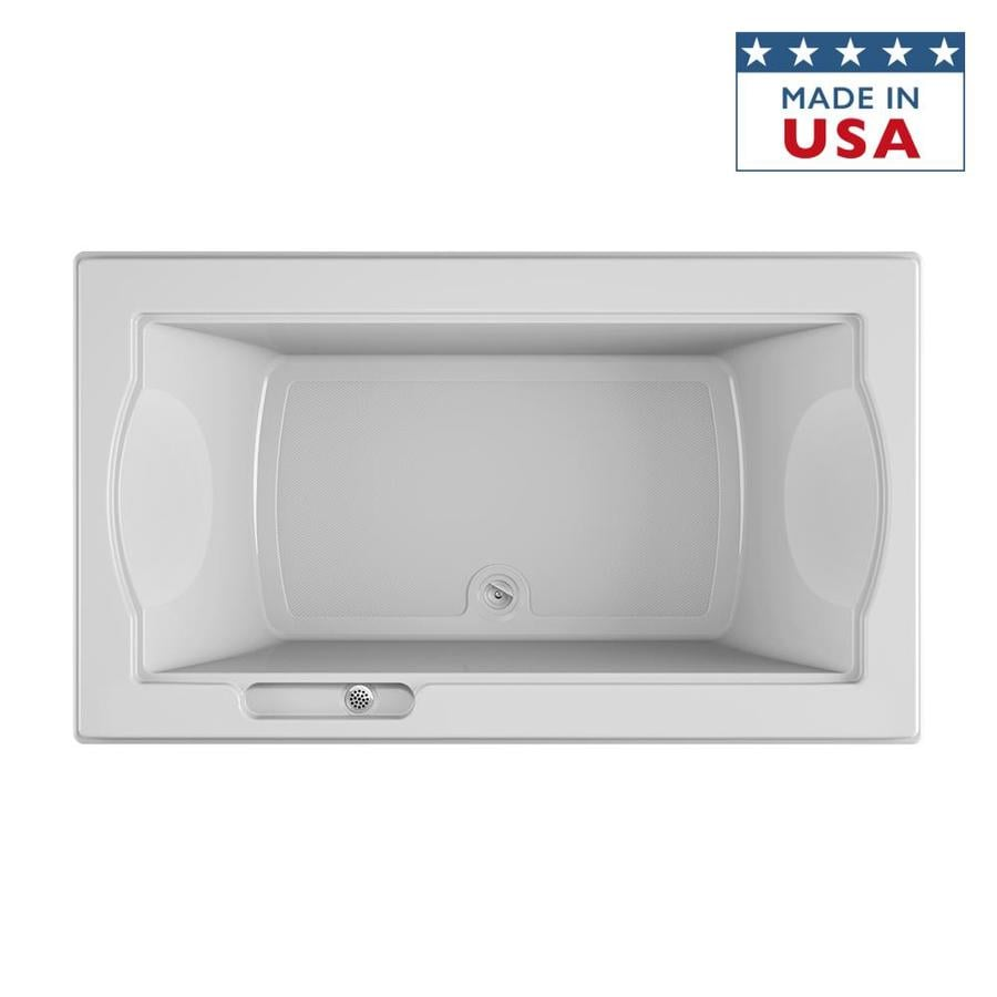 Jacuzzi Fuzion White Acrylic Rectangular Drop-in Bathtub with Center Drain (Common: 42-in x 72-in; Actual: 24-in x 42-in x 72-in)