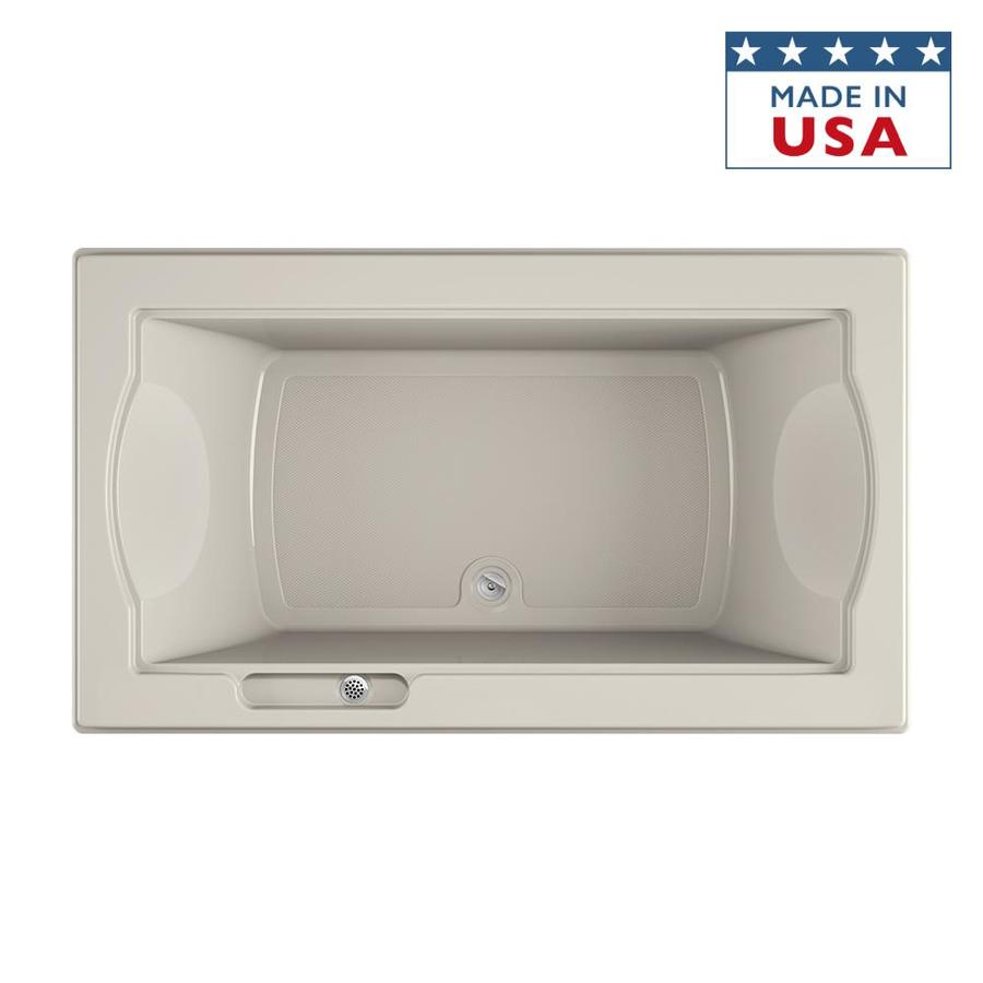 Jacuzzi Fuzion Oyster Acrylic Rectangular Drop-in Bathtub with Center Drain (Common: 42-in x 72-in; Actual: 24-in x 42-in x 72-in)
