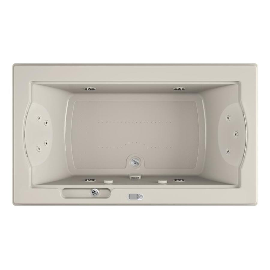 Jacuzzi Fuzion 72-in L x 42-in W x 24-in H 2-Person Oyster Acrylic Rectangular Drop-in Whirlpool Tub and Air Bath
