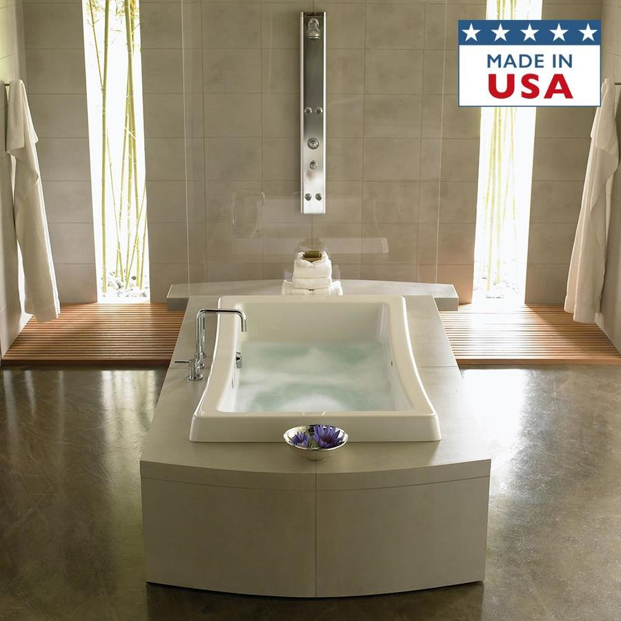 Jacuzzi Allusion White Acrylic Rectangular Drop-In Bathtub with Front Center Drain (Common: 36-in x 66-in; Actual: 26-in x 36-in x 66-in)