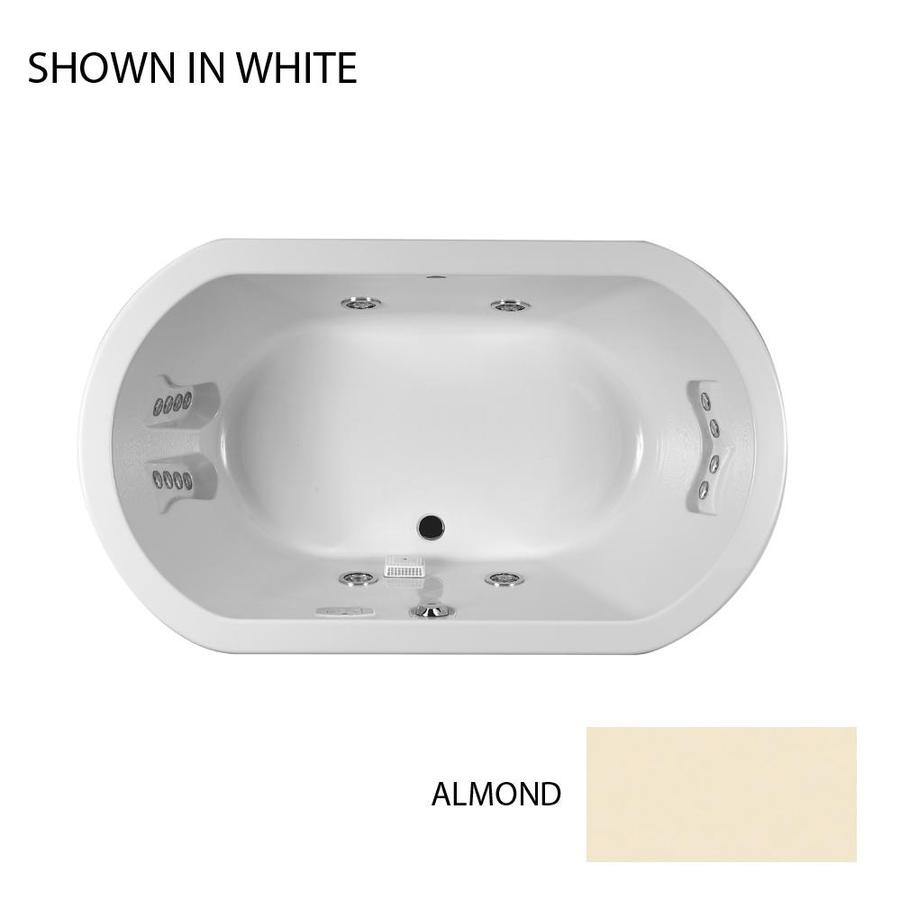 Shop Jacuzzi Duetta Almond Acrylic Oval Whirlpool Tub (Common: 42-in ...
