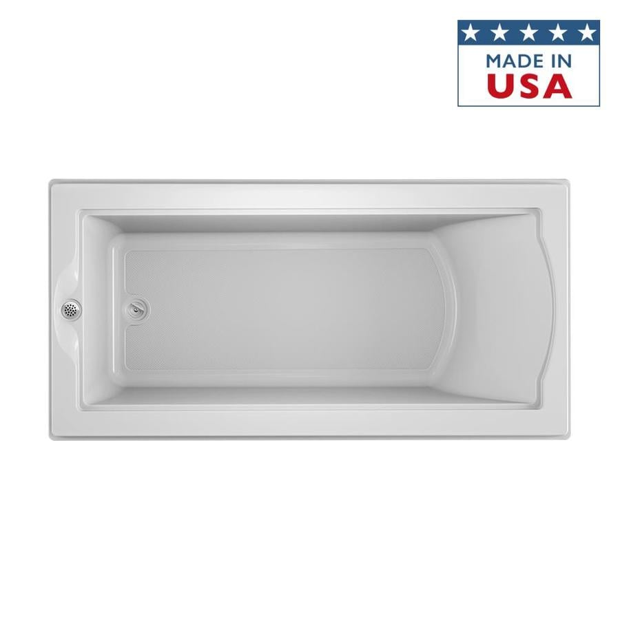 Jacuzzi Fuzion 70.7-in White Acrylic Drop-In Bathtub with Reversible Drain