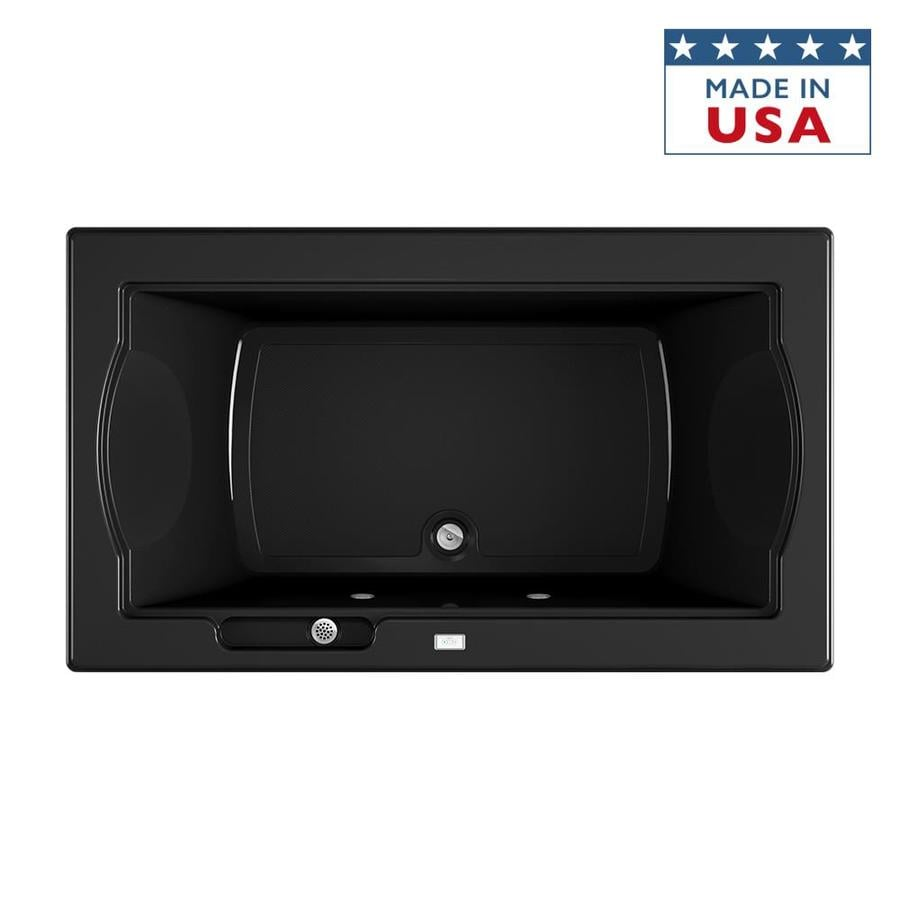 Jacuzzi Fuzion 72-in Black Acrylic Drop-In Bathtub with Front Center Drain