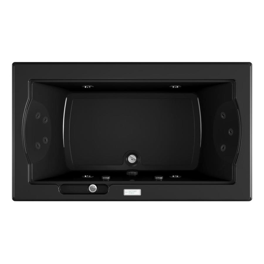 Jacuzzi Fuzion 72-in Black Acrylic Drop-In Whirlpool Tub with Front Center Drain