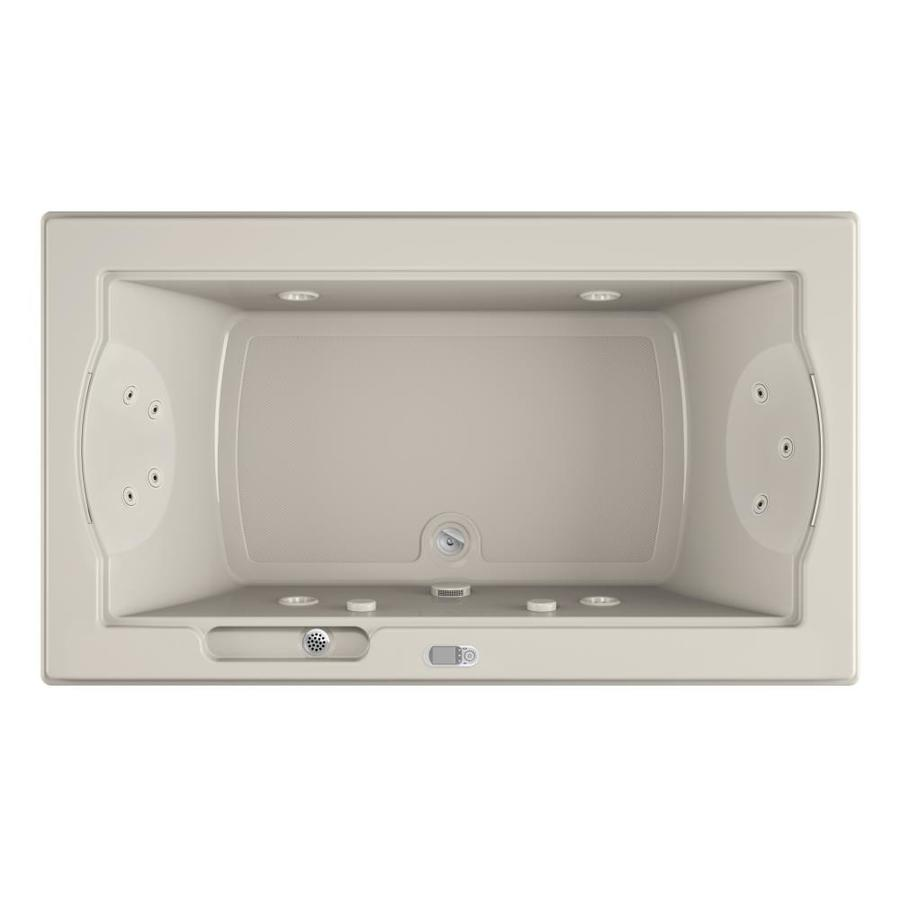 Jacuzzi Fuzion 72-in Oyster Acrylic Drop-In Whirlpool Tub with Front Center Drain