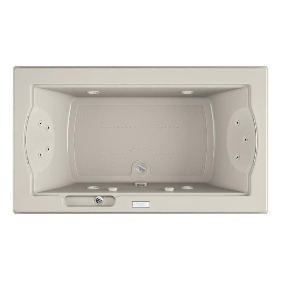Jacuzzi Fuzion 72-in Oyster Acrylic Drop-In Whirlpool Tub And Air Bath with Front Center Drain