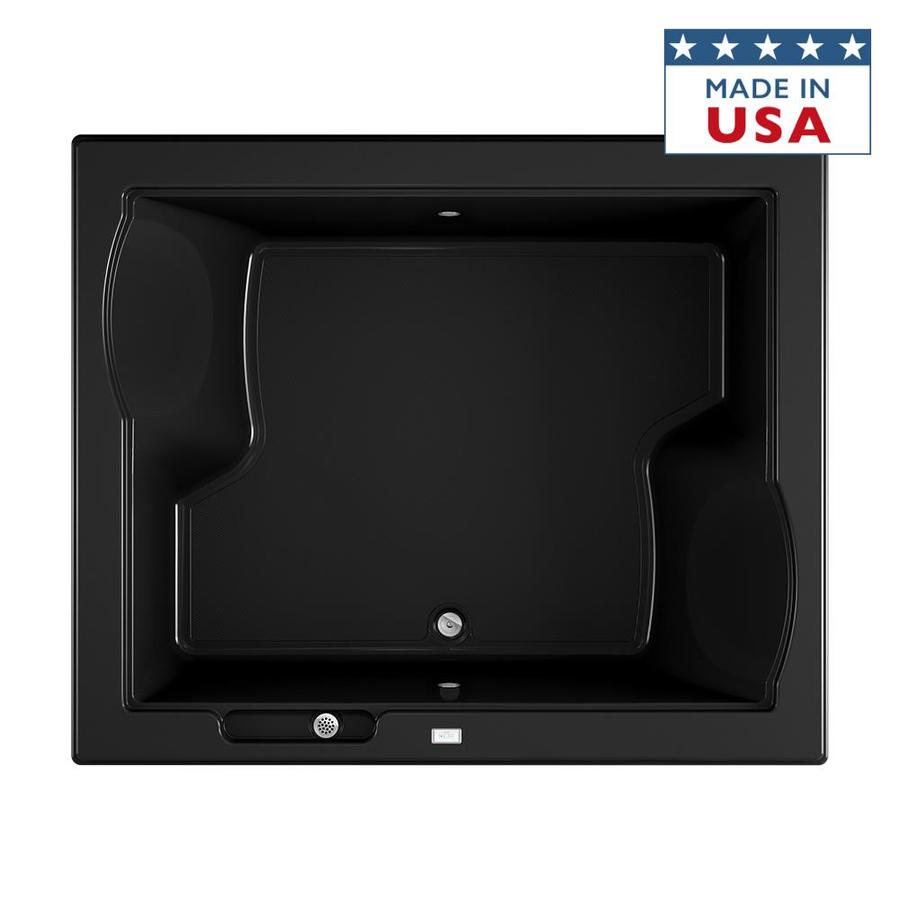 Jacuzzi Fuzion 71.75-in Black Acrylic Drop-In Bathtub with Front Center Drain