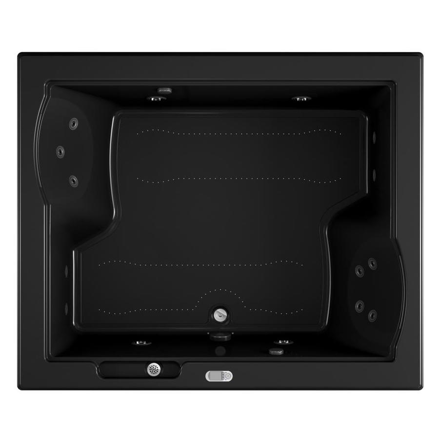 Jacuzzi Fuzion 71.75-in L x 59.75-in W x 24-in H 2-Person Black Acrylic Rectangular Drop-in Whirlpool Tub and Air Bath