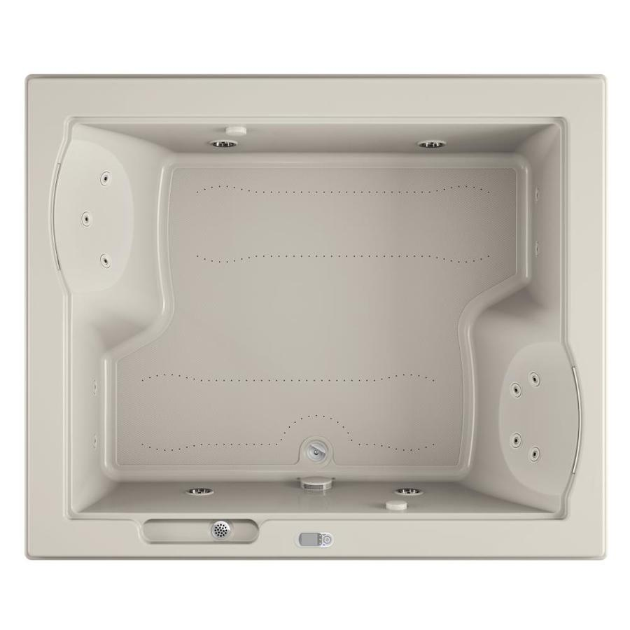 Jacuzzi Fuzion 71.75-in L x 59.75-in W x 24-in H 2-Person Oyster Acrylic Rectangular Drop-in Whirlpool Tub and Air Bath
