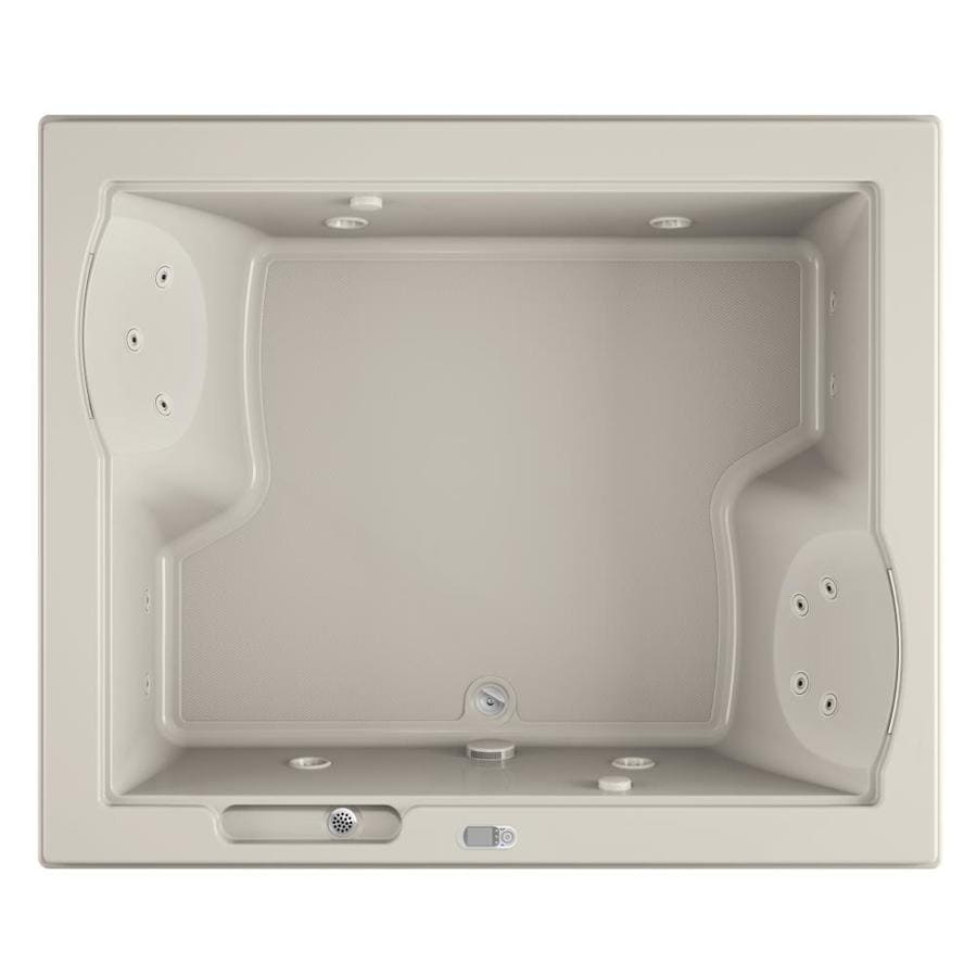 Jacuzzi Fuzion 2-Person Oyster Acrylic Rectangular Whirlpool Tub (Common: 60-in x 72-in; Actual: 24-in x 59.75-in x 71.75-in)