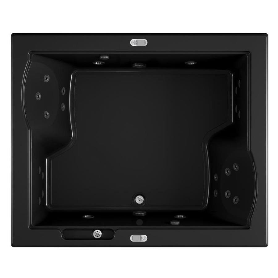 Jacuzzi Fuzion 71.75-in Black Acrylic Drop-In Whirlpool Tub with Front Center Drain