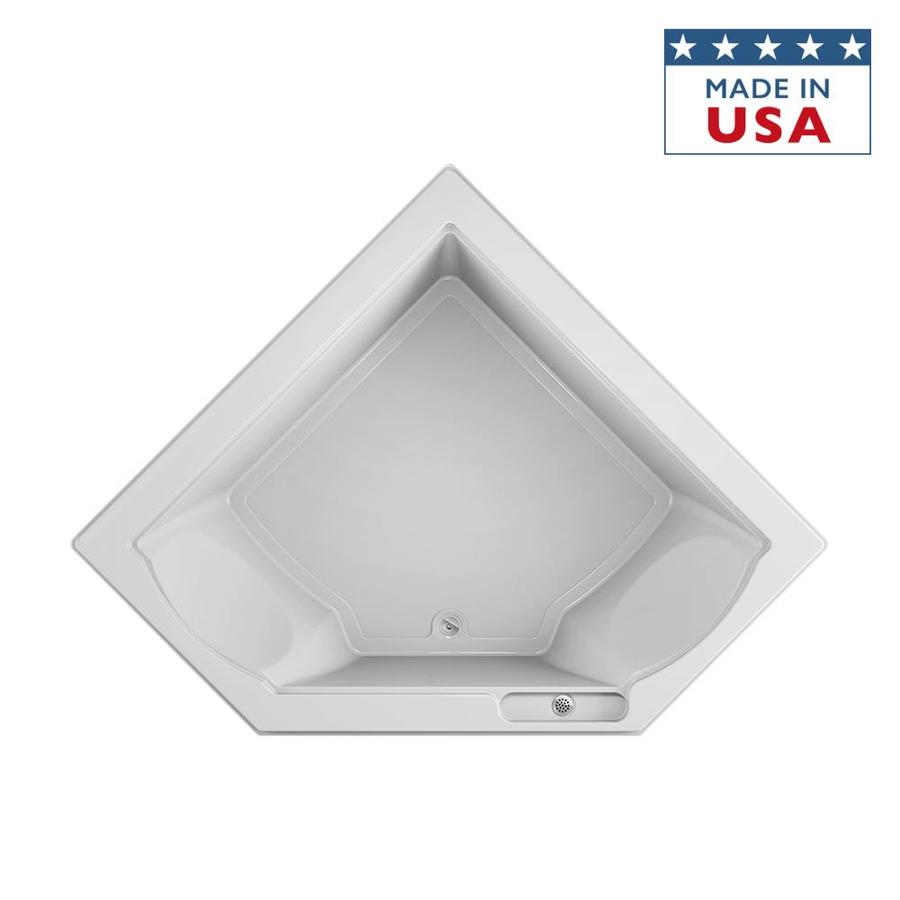 Jacuzzi Fuzion White Acrylic Corner Drop-in Bathtub with Center Drain (Common: 66-in x 66-in; Actual: 24-in x 65.75-in x 65.75-in)