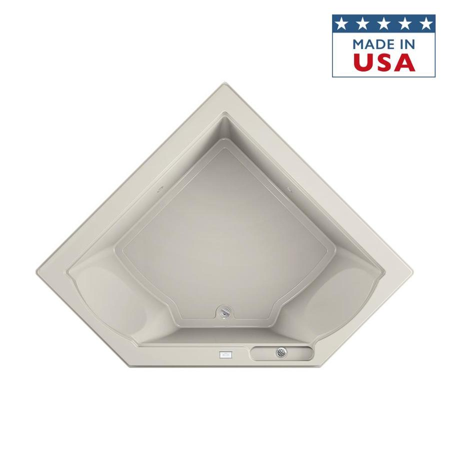Jacuzzi Fuzion Acrylic Corner Drop-in Bathtub with Center Drain (Common: 66-in x 66-in; Actual: 24-in x 65.75-in x 65.75-in)