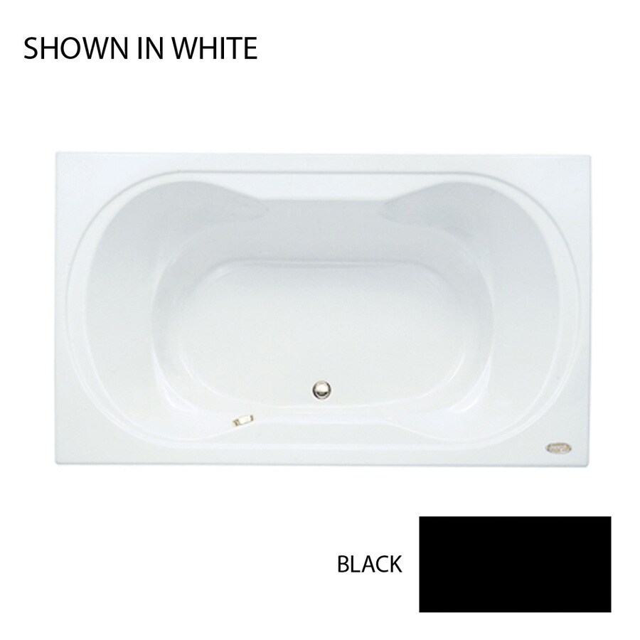 Jacuzzi Real Black Acrylic Hourglass In Rectangle Drop-in Bathtub with Front Center Drain (Common: 42-in x 72-in; Actual: 26-in x 42-in x 72-in)