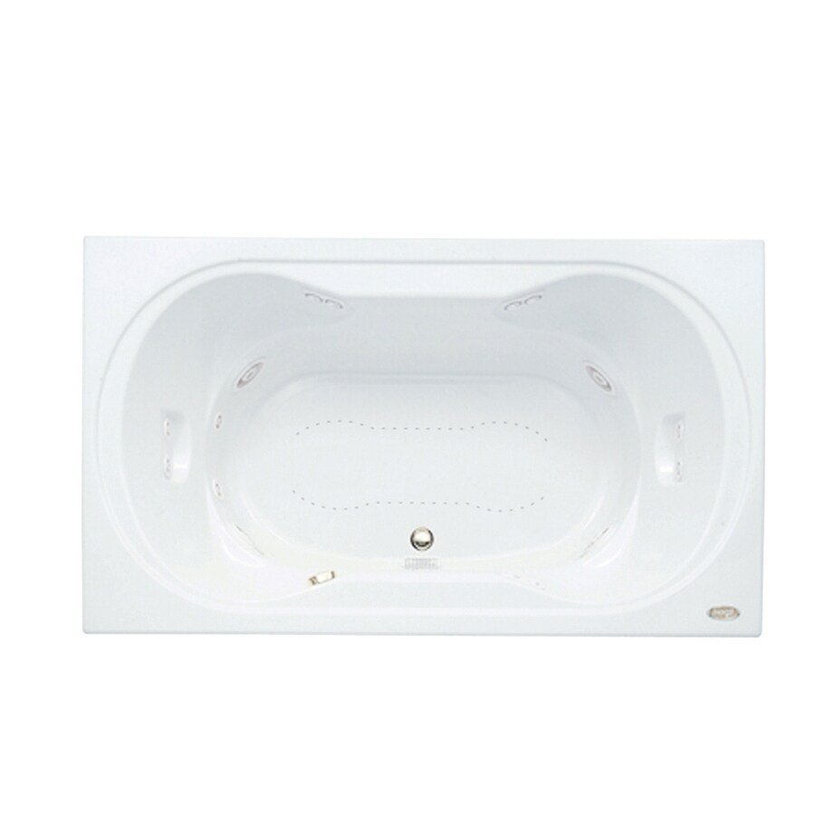 Jacuzzi Real 72-in L x 42-in W x 26-in H 2-Person White Acrylic Hourglass In Rectangle Drop-in Whirlpool Tub and Air Bath