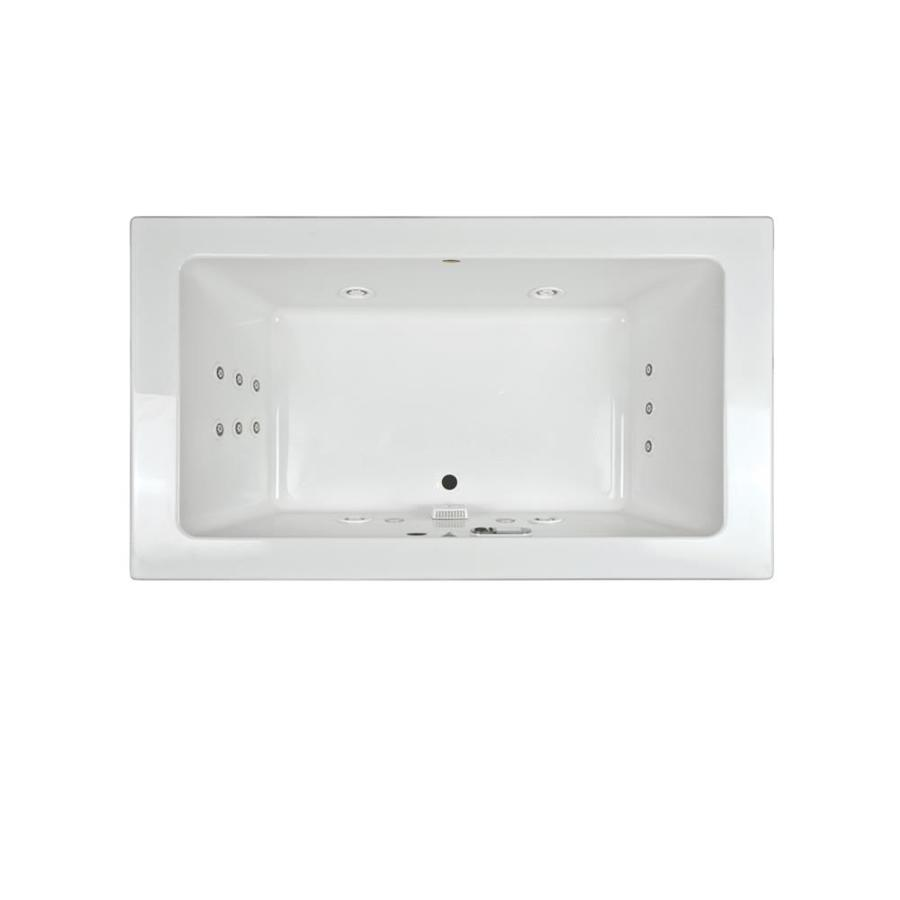 Jacuzzi Sia 66-in White Acrylic Drop-In Whirlpool Tub with Front Center Drain
