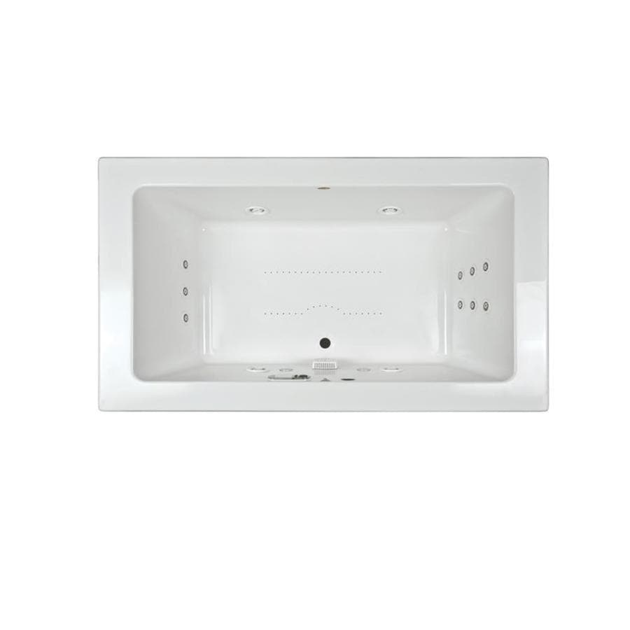 Jacuzzi Sia 66-in White Acrylic Drop-In Whirlpool Tub and Air Bath with Front Center Drain