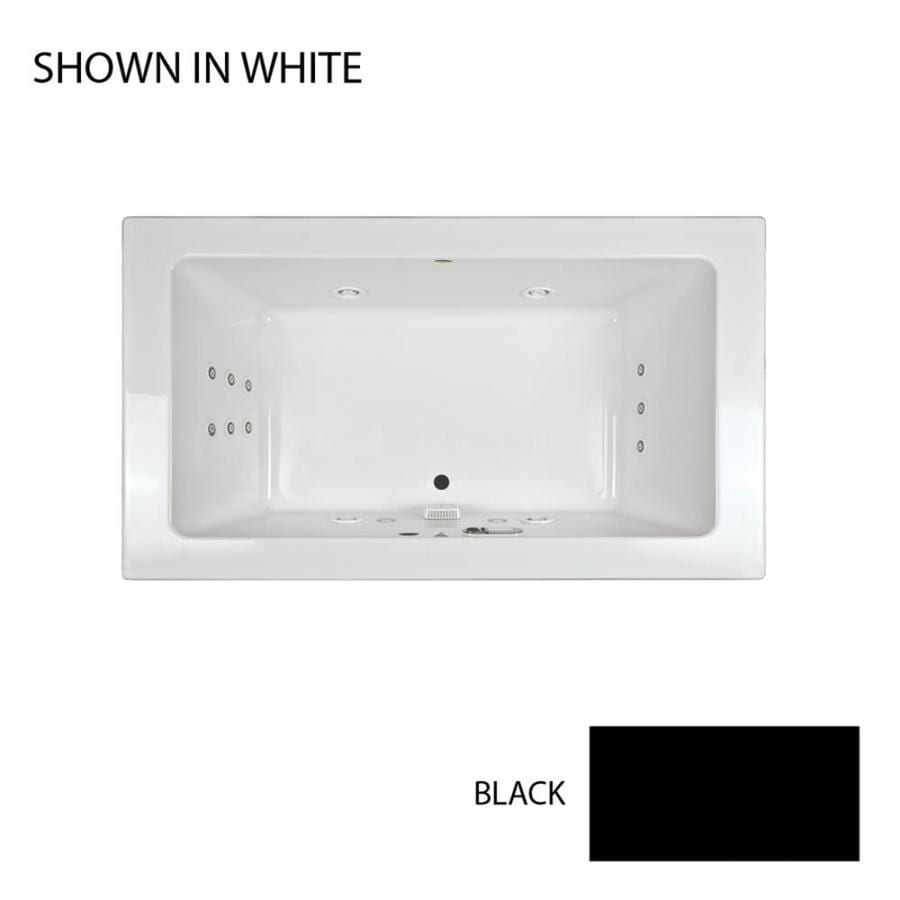 Jacuzzi Sia 2-Person Black Acrylic Rectangular Whirlpool Tub (Common: 42-in x 72-in; Actual: 24-in x 42-in x 72-in)