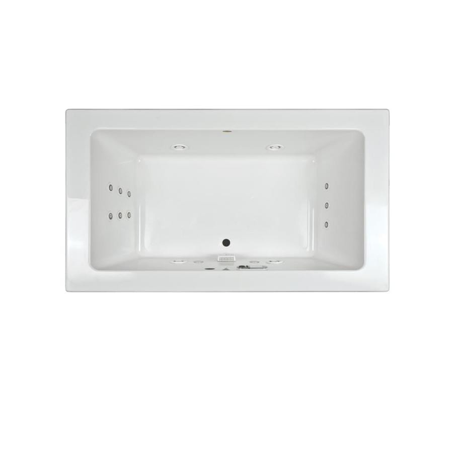 Jacuzzi Sia 72-in White Acrylic Drop-In Whirlpool Tub with Front Center Drain