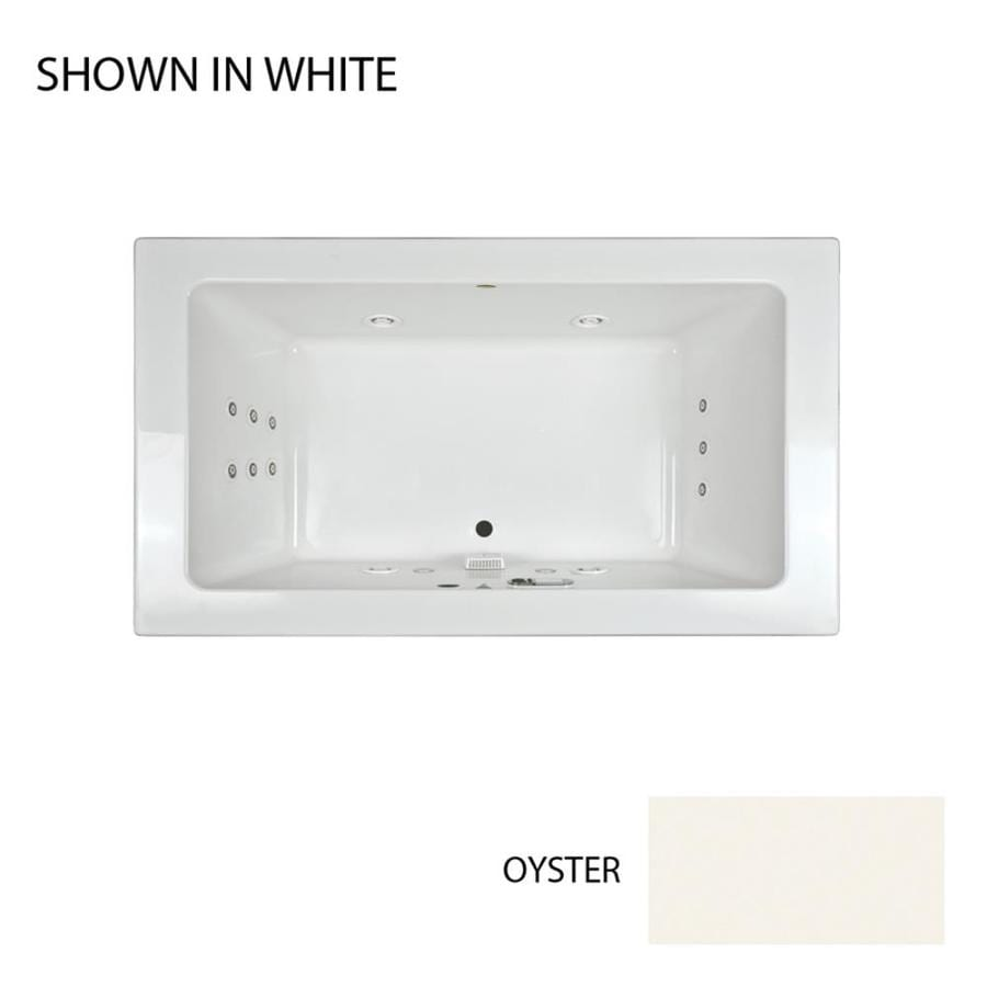 Jacuzzi Sia 72-in Oyster Acrylic Drop-In Whirlpool Tub with Front Center Drain