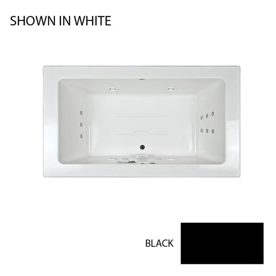 Jacuzzi Sia 72-in Black Acrylic Drop-In Whirlpool Tub and Air Bath with Front Center Drain