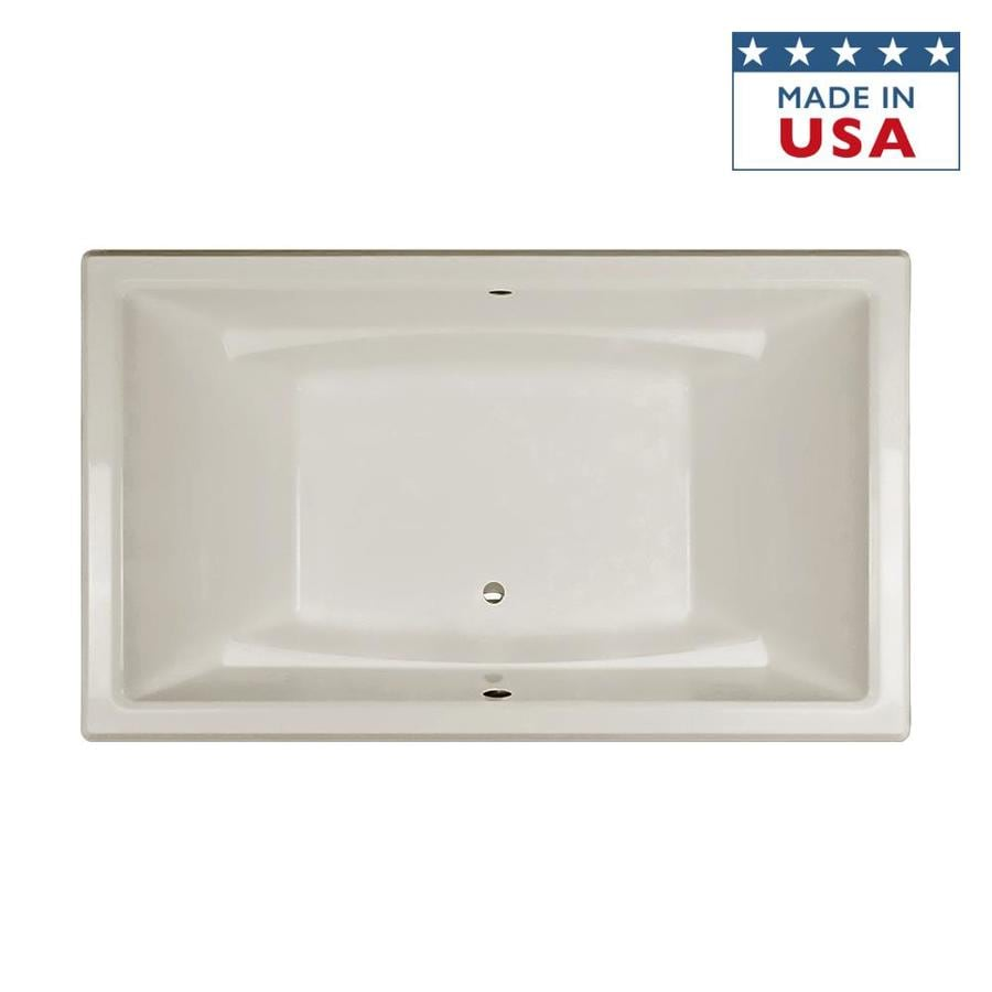 Jacuzzi Acero Oyster Acrylic Rectangular Drop-In Bathtub with Center Drain (Common: 36-in x 66-in; Actual: 25-in x 36-in x 66-in)