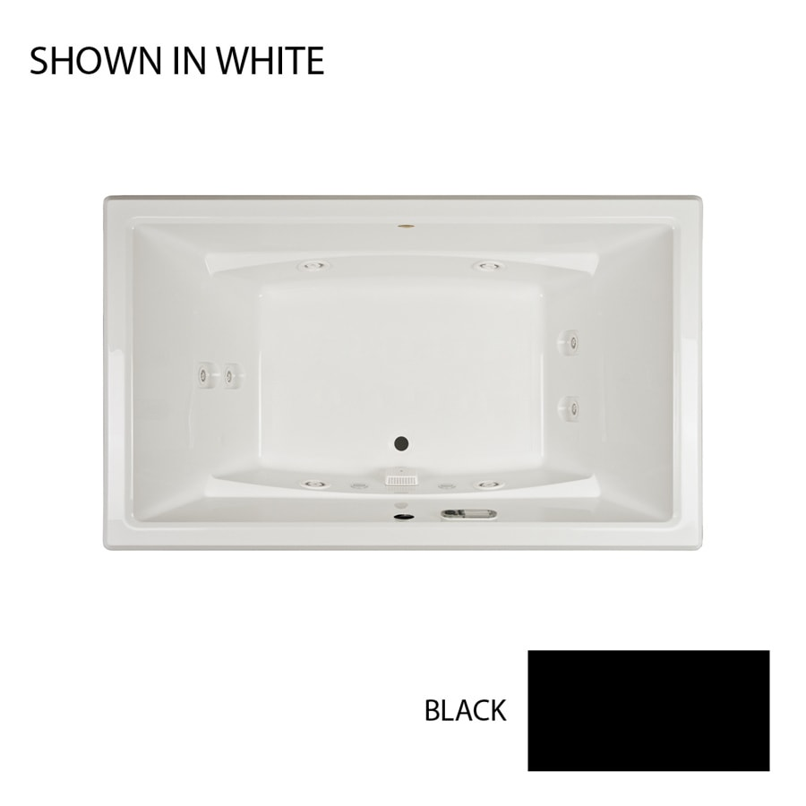Jacuzzi Acero 72-in Black Acrylic Drop-In Whirlpool Tub with Front Center Drain