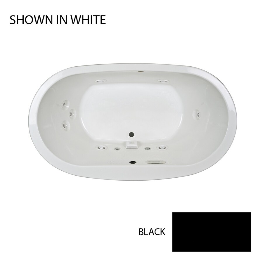 Jacuzzi Mio 66-in Black Acrylic Drop-In Whirlpool Tub with Front Center Drain