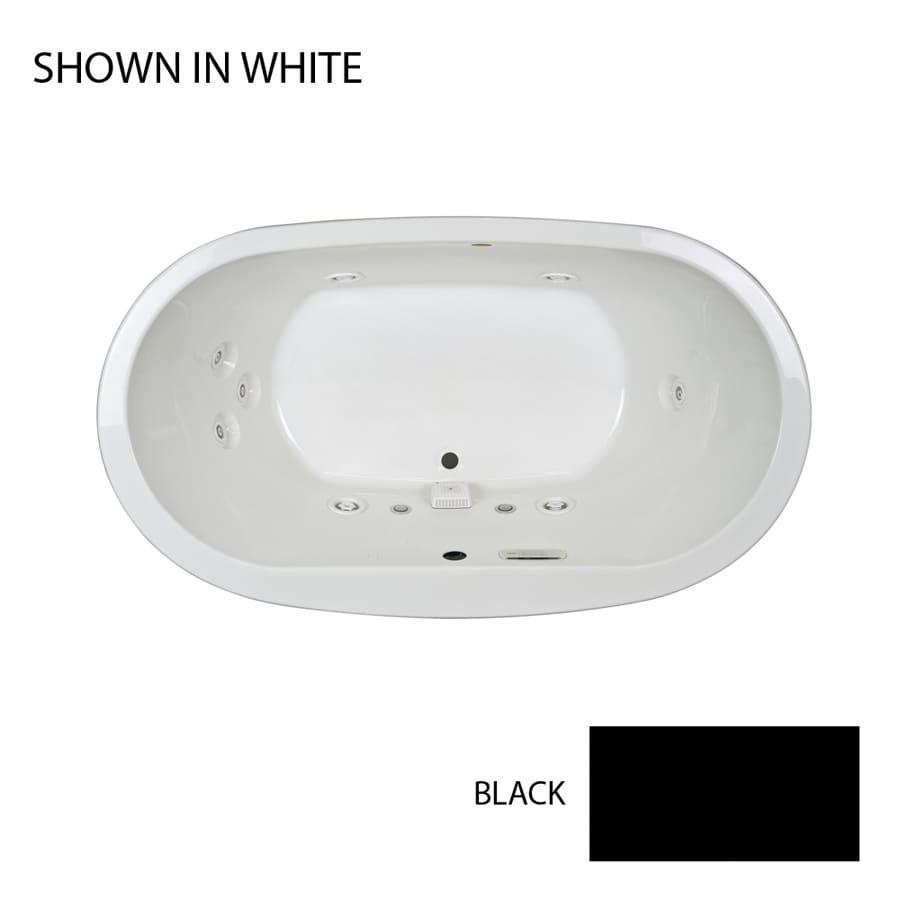 Jacuzzi Mio 2-Person Black Acrylic Oval Whirlpool Tub (Common: 42-in x 72-in; Actual: 25-in x 42-in x 72-in)
