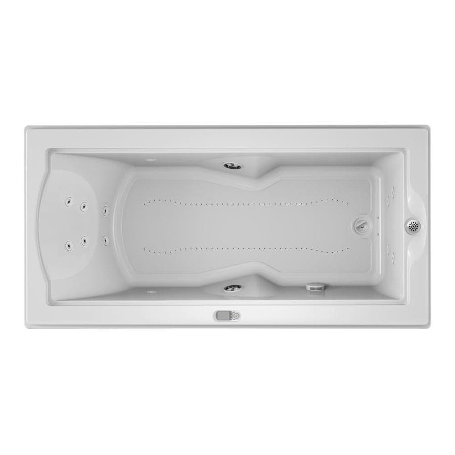 Jacuzzi Fuzion 70.7-in L x 35.4-in W x 24-in H White Acrylic Rectangular Drop-in Whirlpool Tub and Air Bath