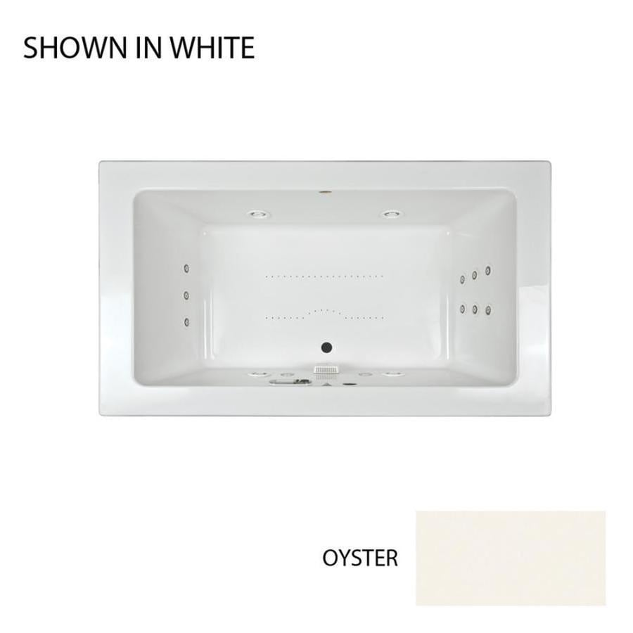 Jacuzzi Sia 72-in Oyster Acrylic Drop-In Whirlpool Tub and Air Bath with Front Center Drain