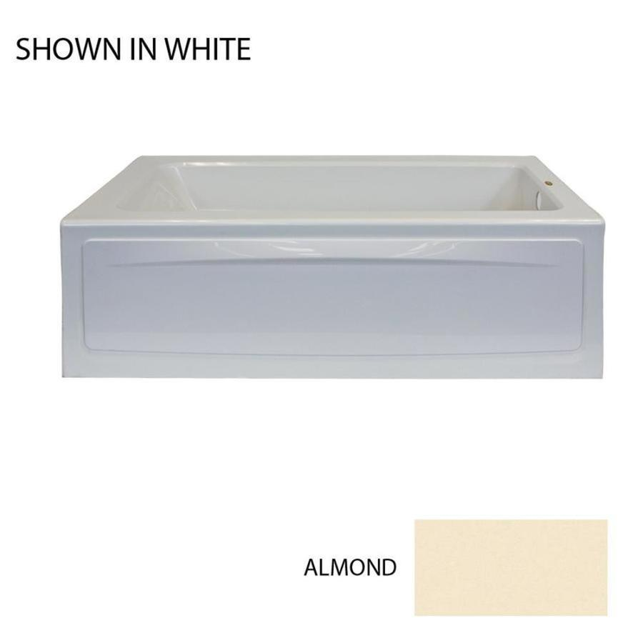 Jacuzzi Primo Almond Acrylic Rectangular Whirlpool Tub (Common: 32-in x 60-in; Actual: 19-in x 32-in x 60-in)