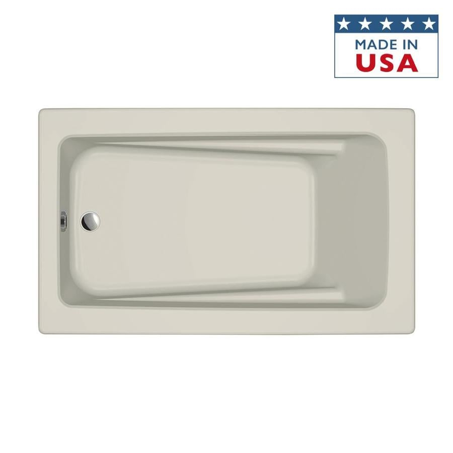 Jacuzzi Primo 60-in Almond Acrylic Bathtub with Reversible Drain