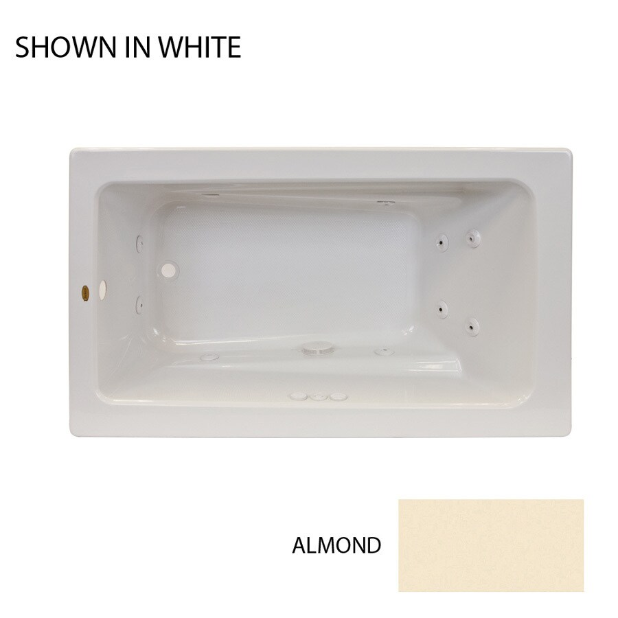 Jacuzzi Primo Almond Acrylic Rectangular Whirlpool Tub (Common: 36-in x 60-in; Actual: 21-in x 36-in x 60-in)