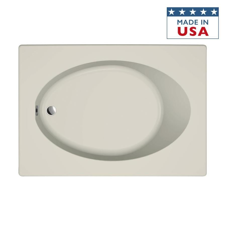 Jacuzzi Primo Almond Acrylic Oval In Rectangle Drop-in Bathtub with Reversible Drain (Common: 42-in x 60-in; Actual: 21-in x 42-in x 60-in)
