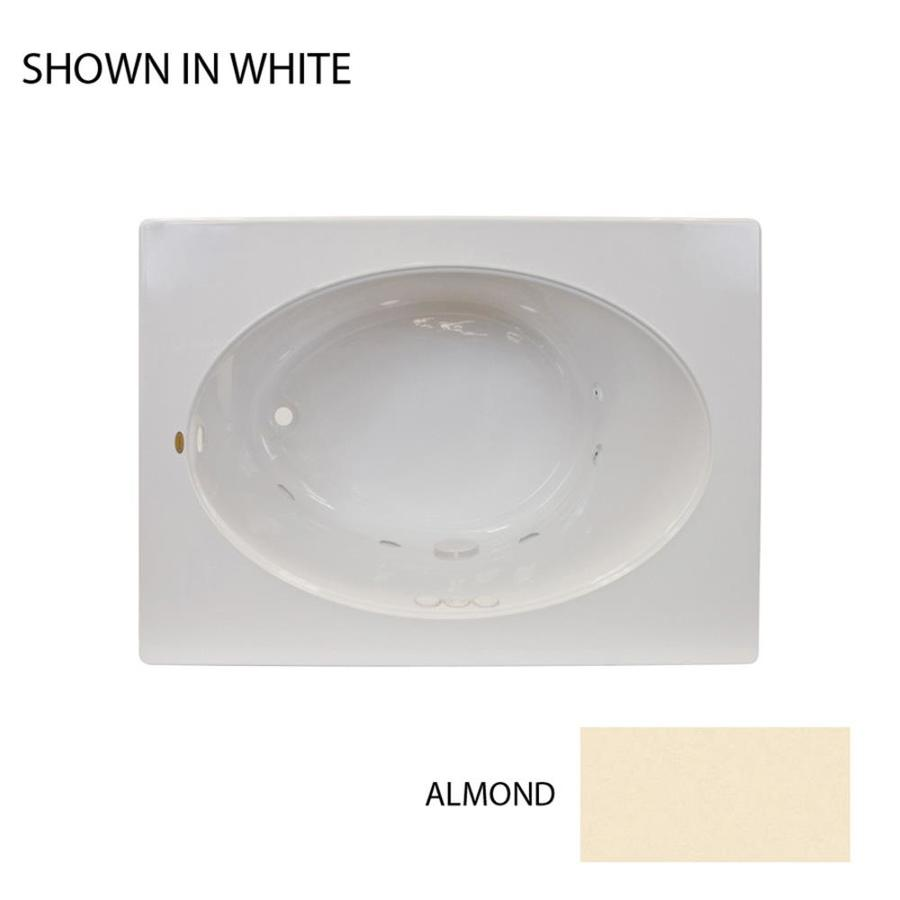 Jacuzzi Primo Almond Acrylic Oval In Rectangle Whirlpool Tub (Common: 42-in x 60-in; Actual: 21-in x 42-in x 60-in)